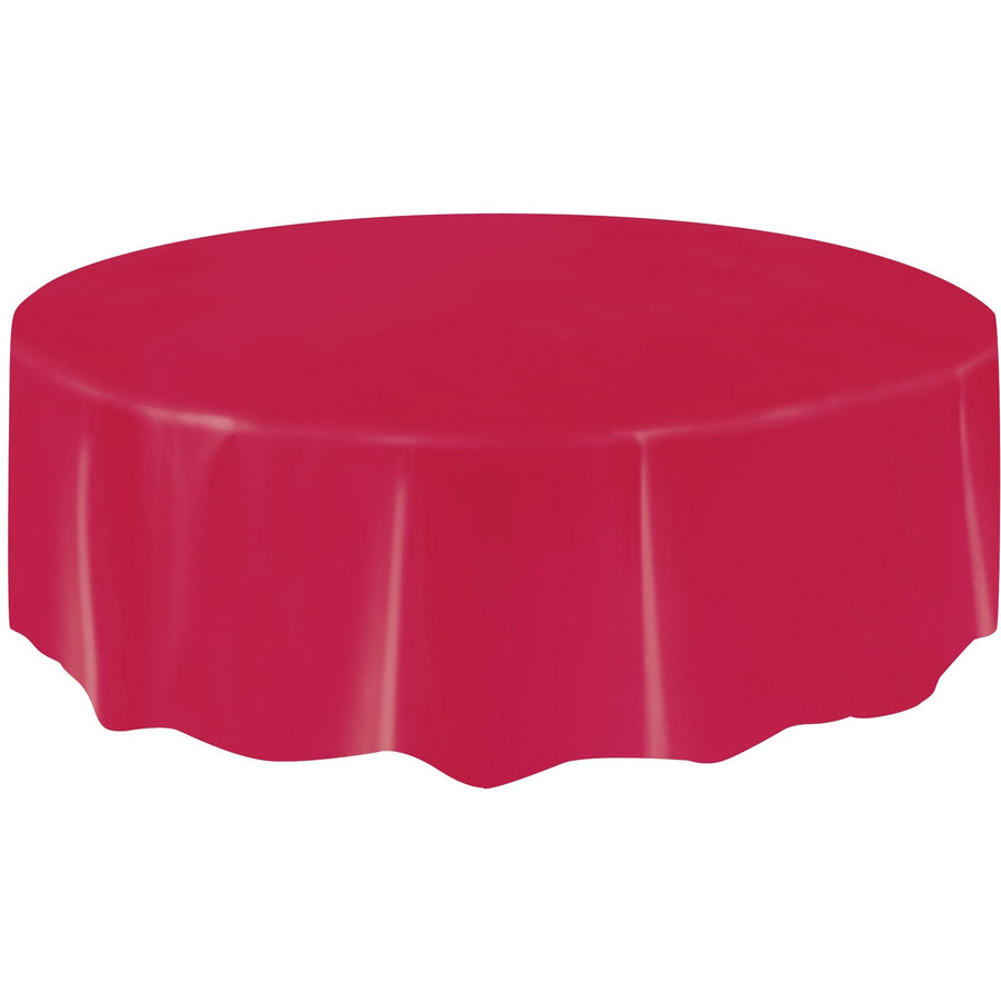 Red Plastic Table Cover Round