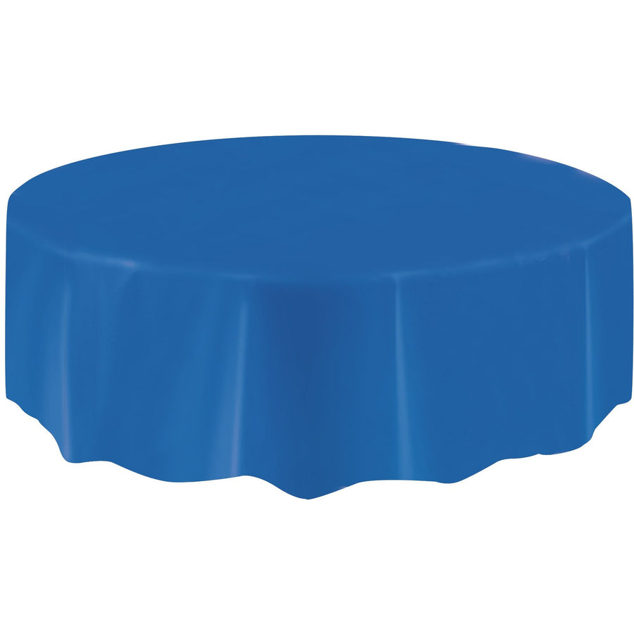 Royal Blue Plastic Table Cover Round