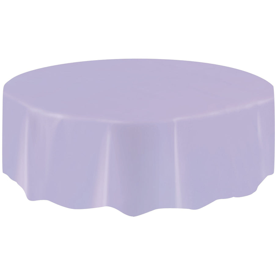 Lavender Plastic Table Cover Round