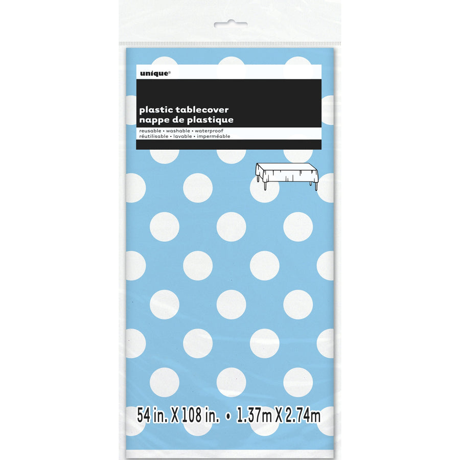 Powder Blue Dots Plastic Table Cover Rectangular