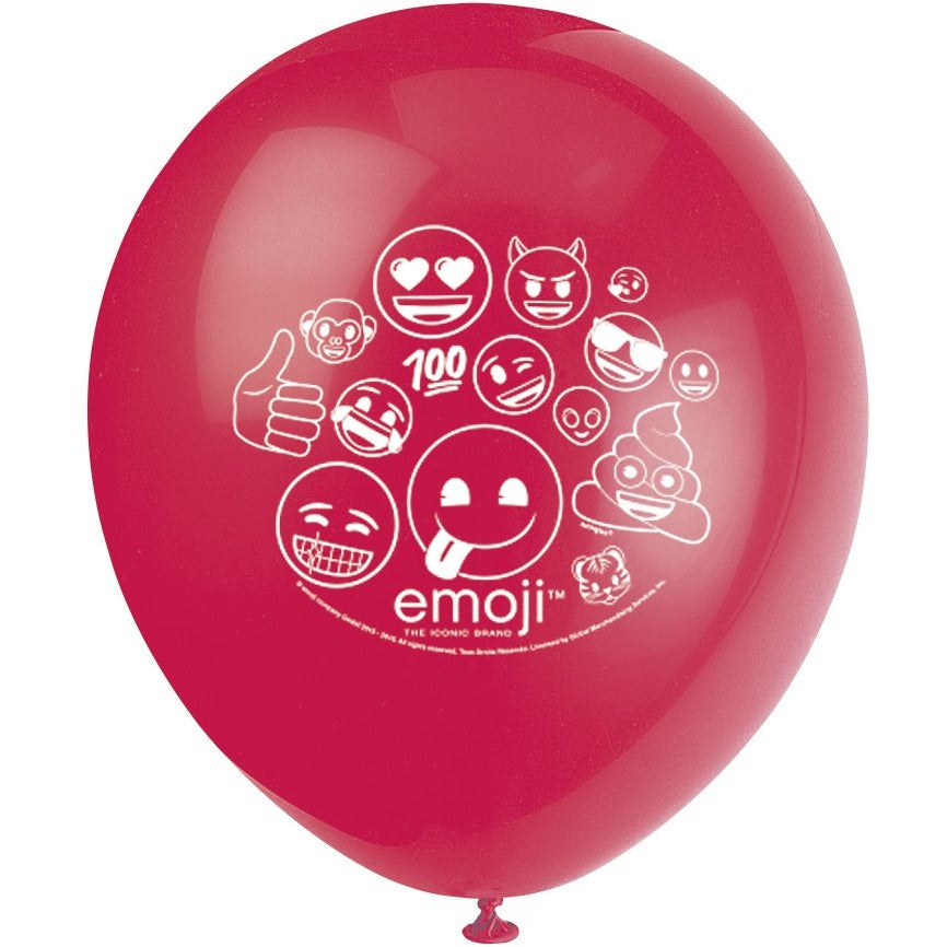 Emoji Printed Latex Balloons 4 assorted colours 8/pk