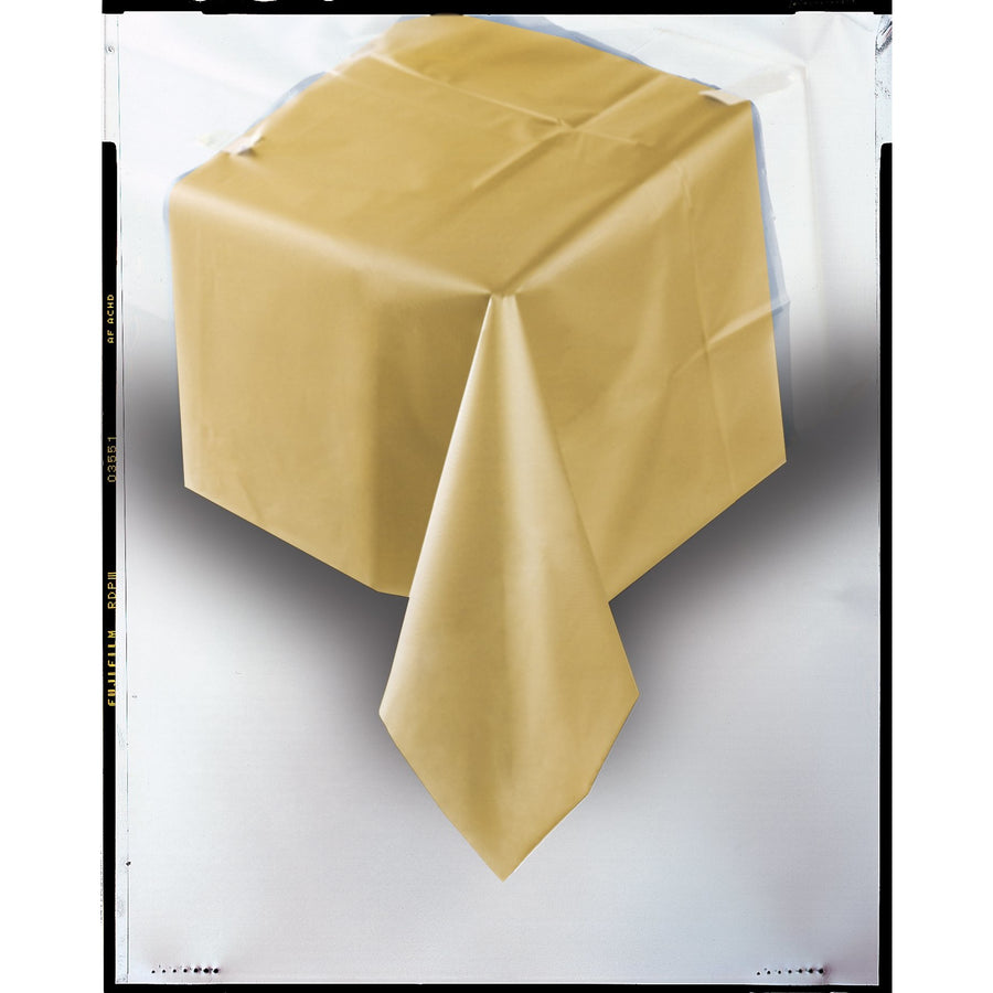 Gold Plastic Table Cover Rectangular