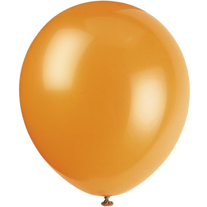Pumpkin Orange Latex Balloons 10/pk