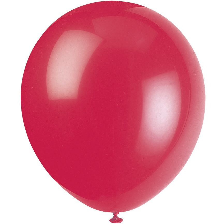 Ruby Red Latex Balloons 10/pk