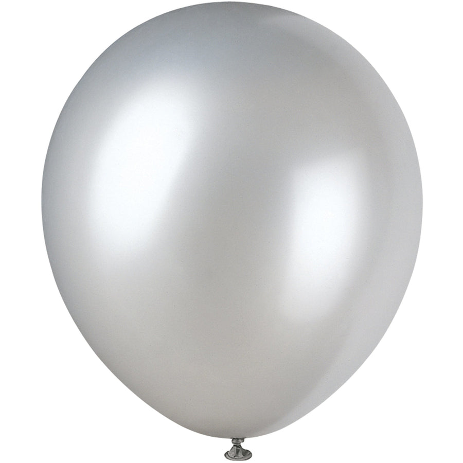 Pearlized Silver Latex Balloons 8/pk