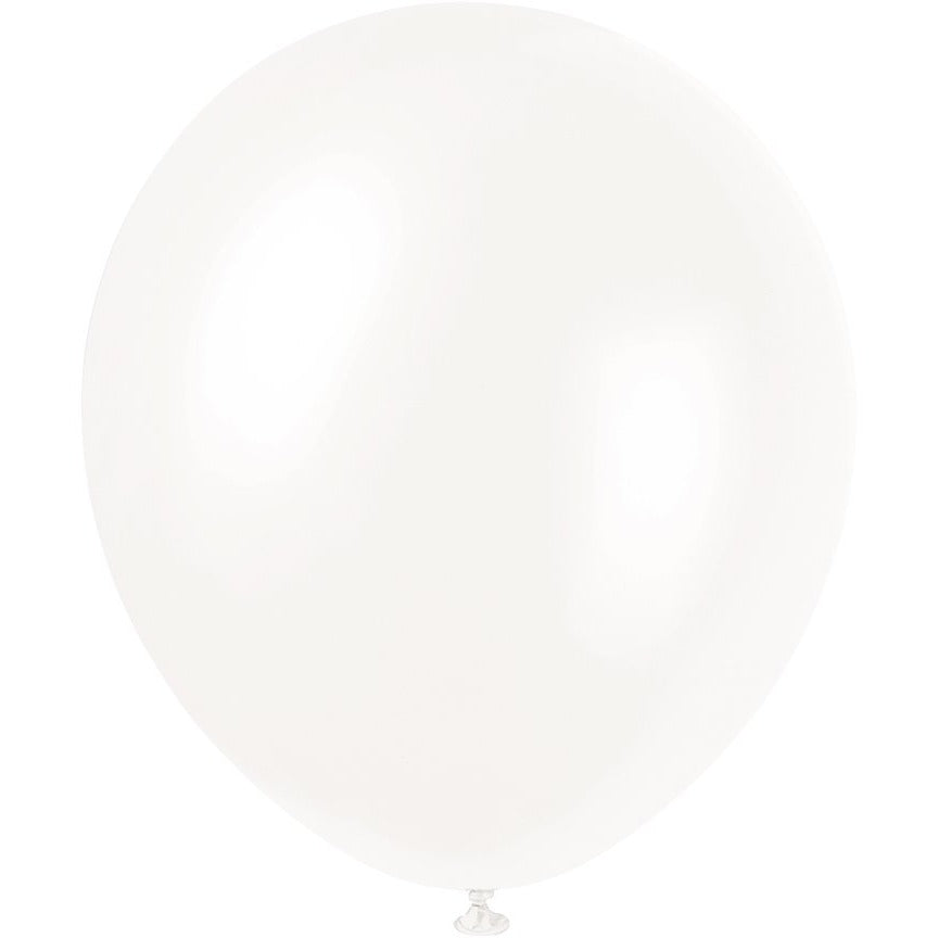 Pearlized White Latex Balloons 8/pk