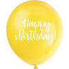 Happy Birthday Printed Latex Balloons 8 assorted colours 8/pk