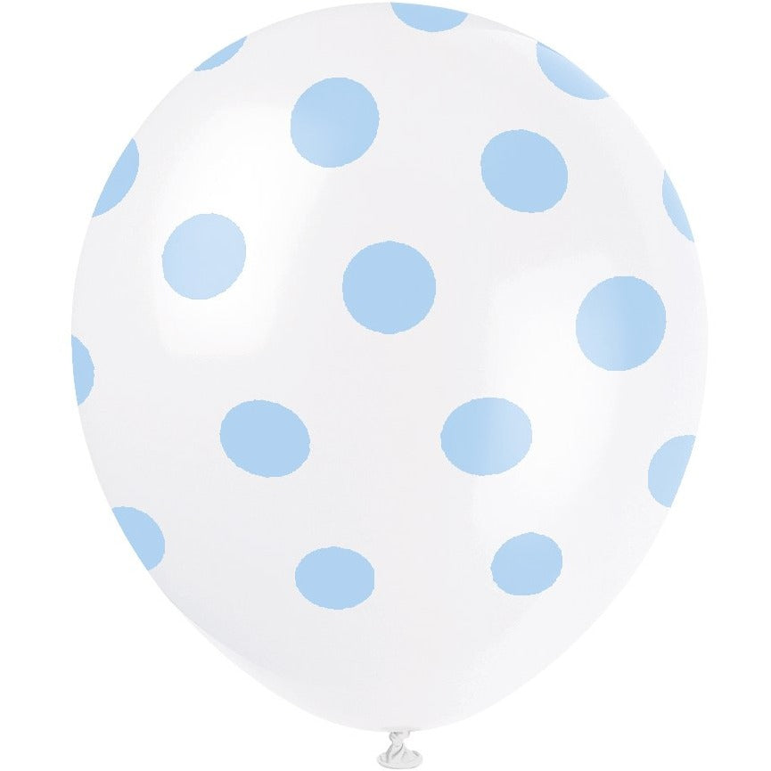 White Latex Balloons with Powder Blue Dots 6/pk