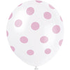 Petal Pink Latex Balloons with White Dots 6/pk
