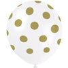 White Latex Balloons with Gold Dots 6/pk
