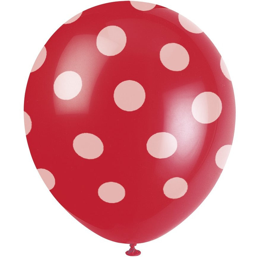 Red Latex Balloons with White Dots 6/pk