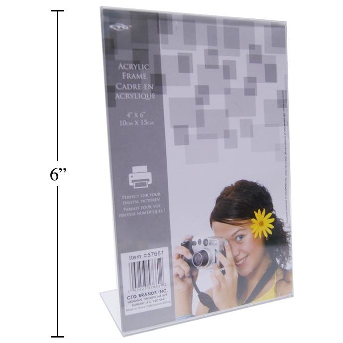 "Clear L Shaped Photo Frame, 4""x6"" Vertical"