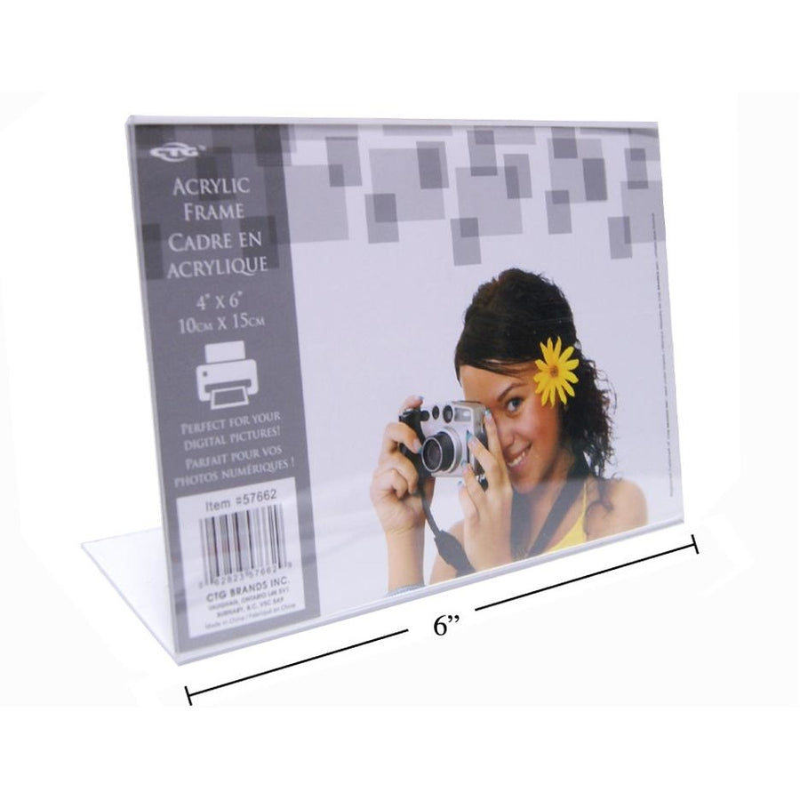 "Clear L Shaped Photo Frame, 6""x4"" Horizontal"