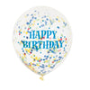 Clear Birthday with Multi Color Confetti 6/pk