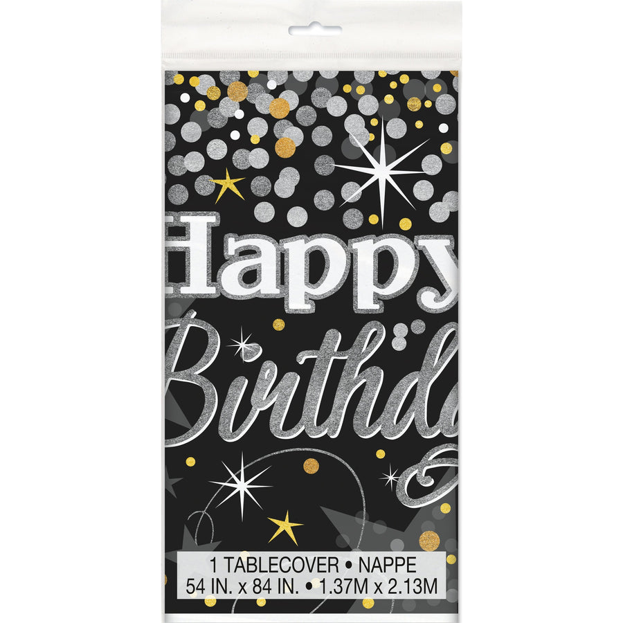 Glittering Birthday Plastic Table Cover Rectangular