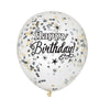 Clear Glitter Birthday with Multi Color Confetti 6/pk