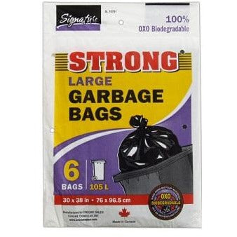 Strong Black Large Garbage Bags, 6/pk