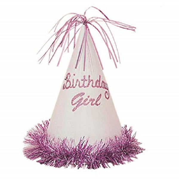 Glitter Fringe Birthday Girl Party Hat