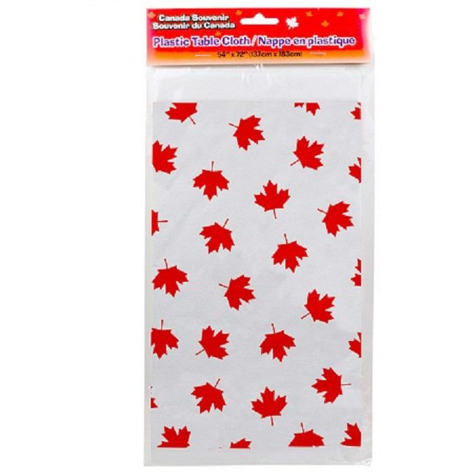 Canada Maple Leaf Plastic Table Cover Rectangular