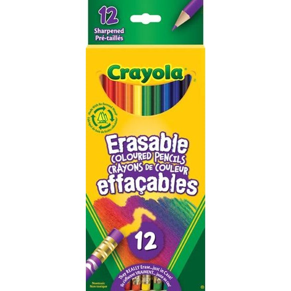 Erasable Coloured Pencils, 12/pk