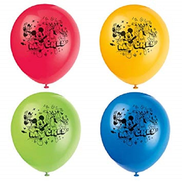 Micky Mouse Printed Latex Balloons 4 assorted colours 8/pk