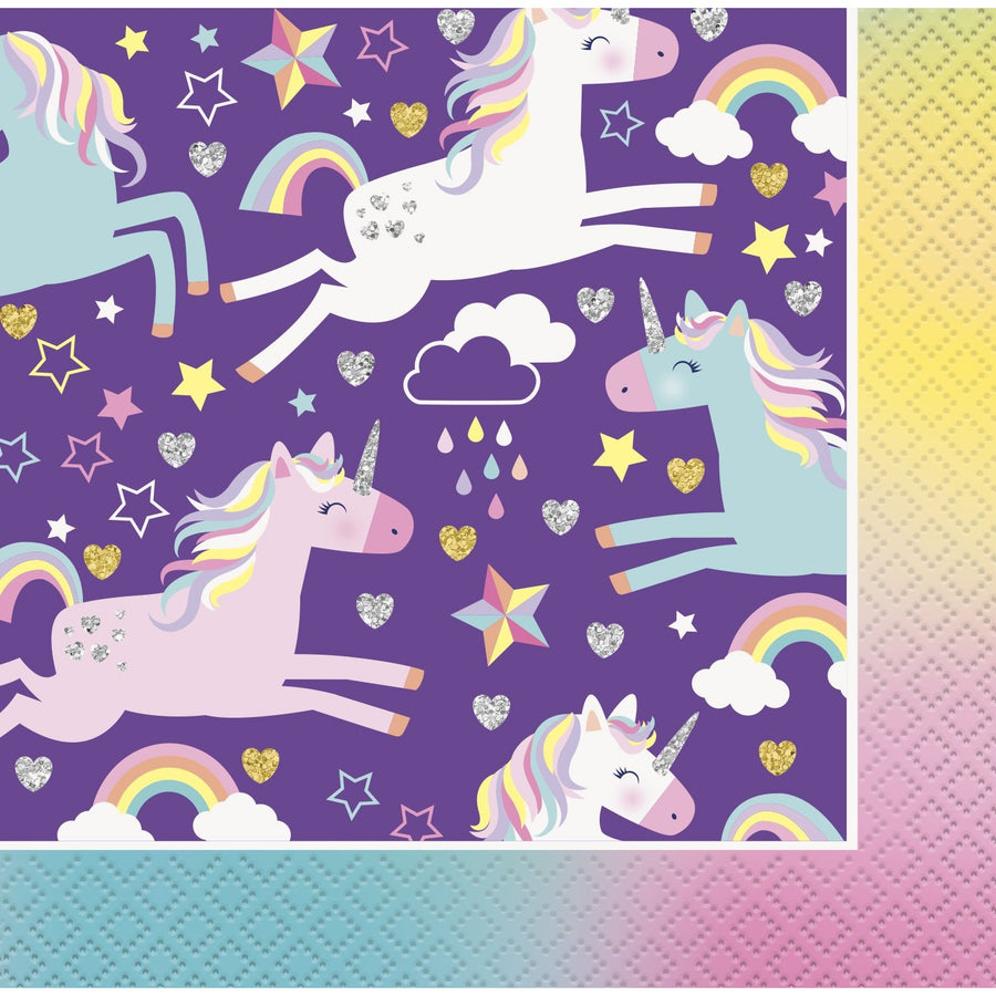 "10"" x 10"" Unicorn Napkins 16/pk"