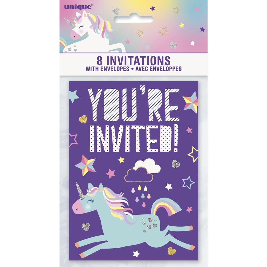 Invitations - Unicorn, 8/pk