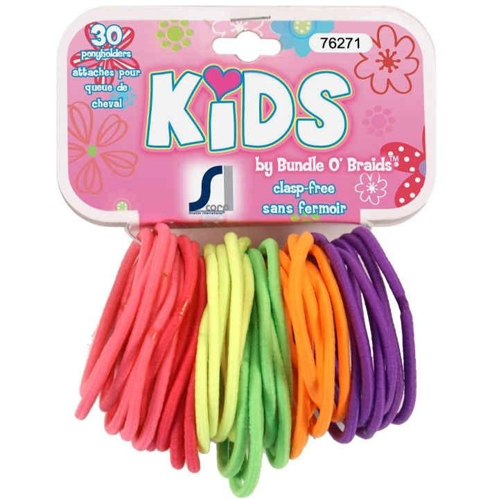 Kids Ponytail Holders, Neon 30/pk