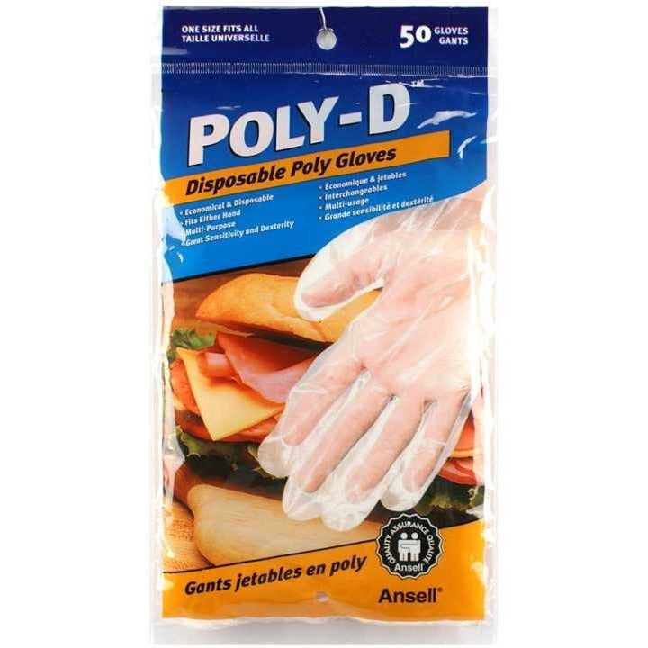 50-pack Poly-D Disposable Poly Gloves