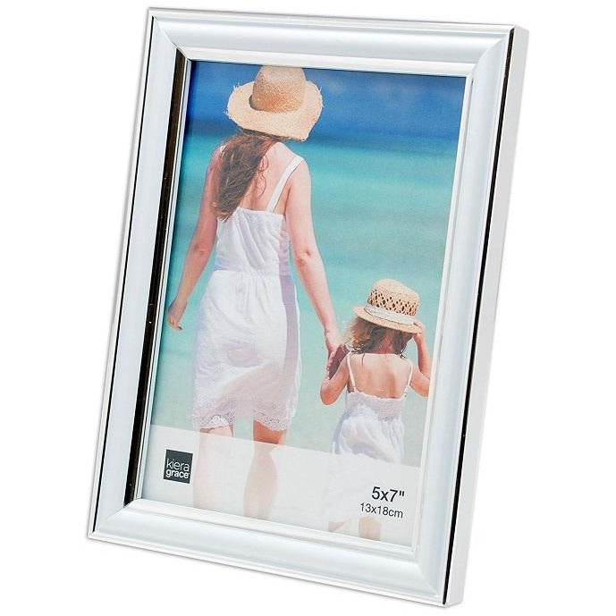 "Picture Frame, 5""x 7"", White with Silver Line"
