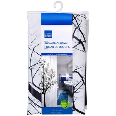 "PEVA Shower Curtain 70""x72"" Printed - Black Tree"
