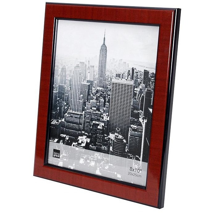 "Picture Frame, 8""x 10"", Walnut Wood Grain with Black Trim"