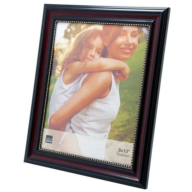 "Picture Frame, 8""x 10"", Dark Brown with Gold Beading"