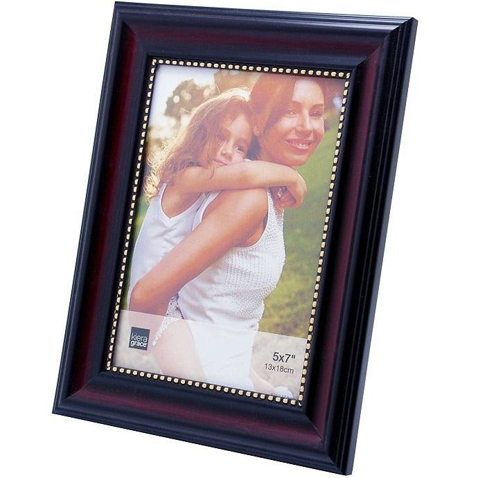 "Picture Frame, 5""x 7"", Dark Brown with Gold Beading"