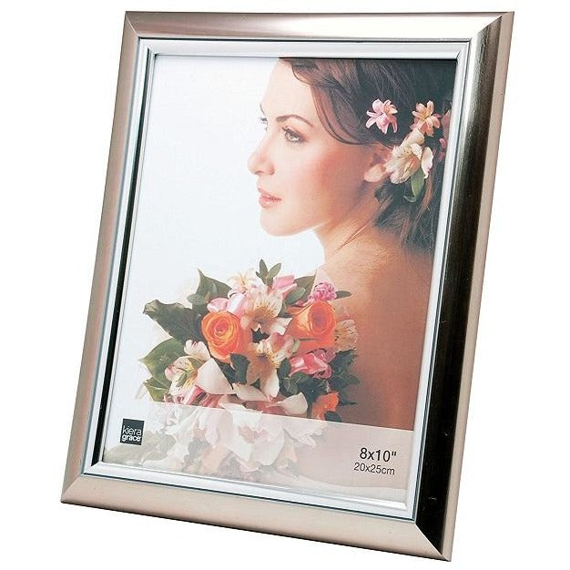 "Picture Frame, 8""x10"", Titanium Color with Silver Accent"