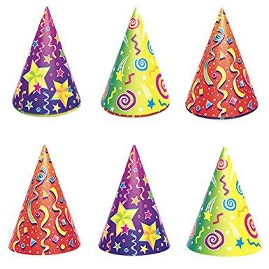 Party Hats - Kaleidoscope, 6/pk