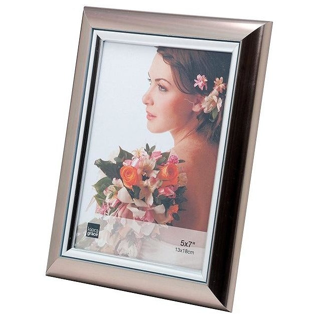 "Picture Frame, 5""x7"", Titanium Color with Silver Accent"