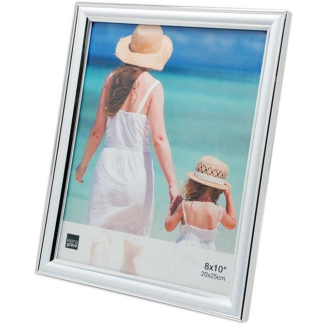 "Picture Frame, 8""x 10"", White with Silver Line"