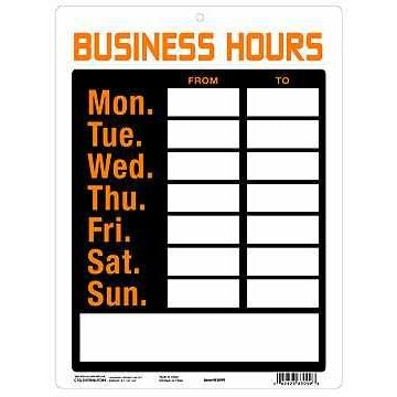 "PVC Sign ""Business Hours"""
