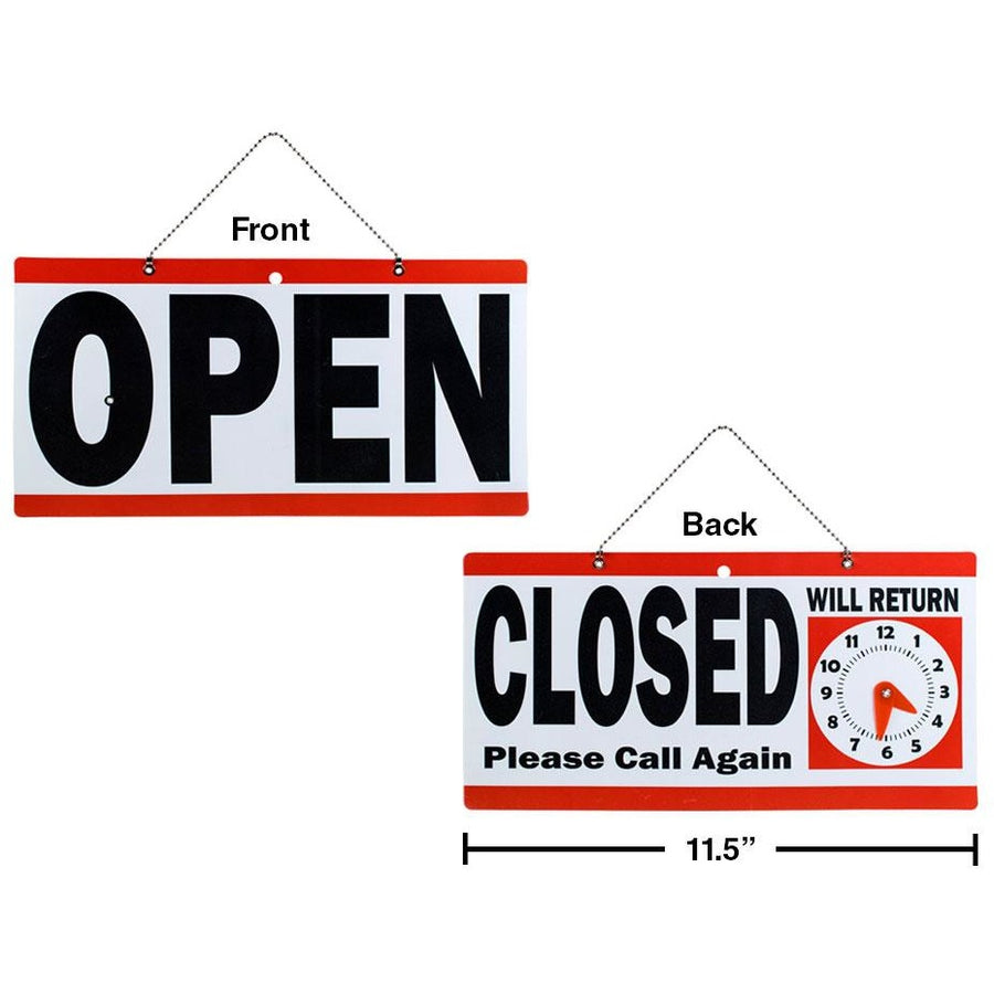 "PVC Sign""Open/Close"" with ""Will Return""Clock"