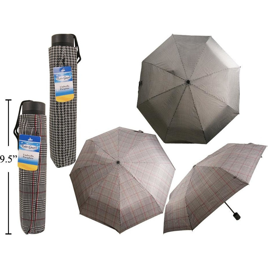 Steel Shaft, Black Handle 3 Fold Umbrella