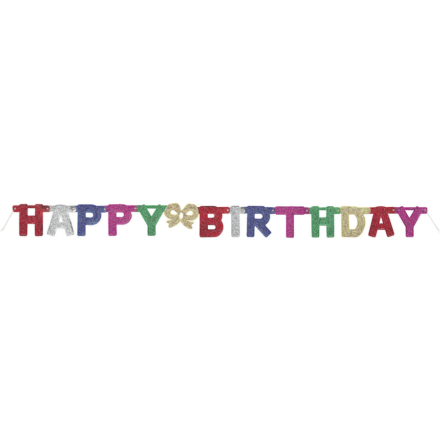 """Happy Birthday"" Deluxe Glitter Happy Birthday Jointed Banner"