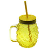 Pineapple Shape Glass Mason Jar Mug with Straw & Lid