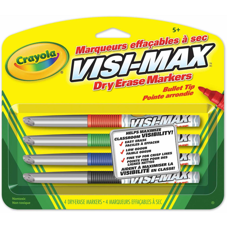 Visi-Max Dry-Erase Markers, Fine Line 4/pk