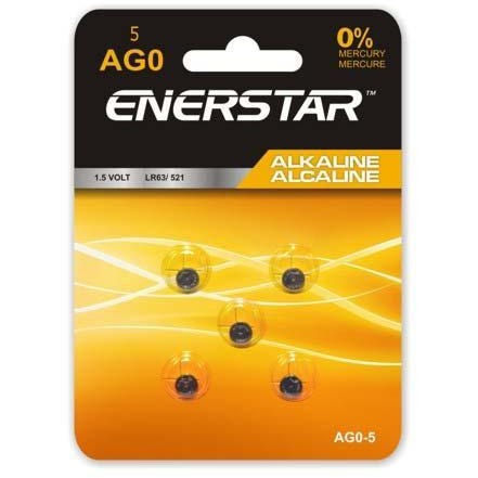 Alkaline Button Cell Battery AG0, 5/pk