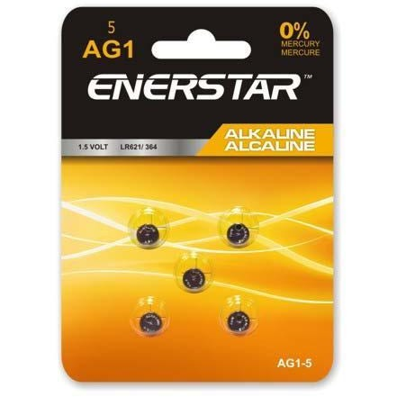 Alkaline Button Cell Battery AG1, 5/pk