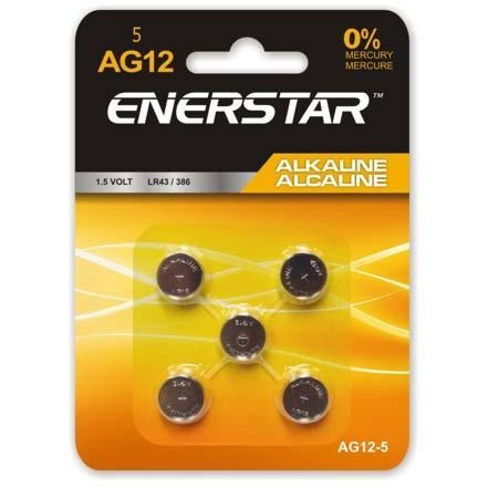 Alkaline Button Cell Battery AG12, 5/pk
