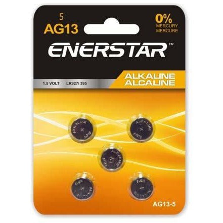 Alkaline Button Cell Battery AG13, 5/pk
