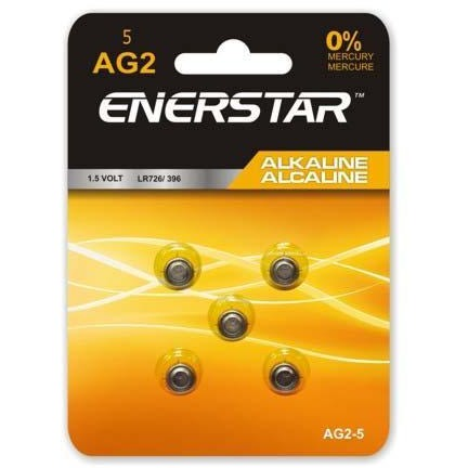 Alkaline Button Cell Battery AG2, 5/pk