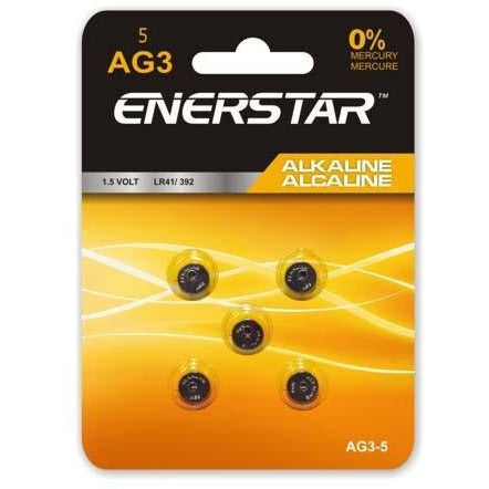 Alkaline Button Cell Battery AG3, 5/pk
